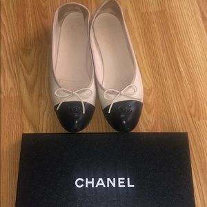 Chanel Lambskin Beige/ Black Ballerina Flats